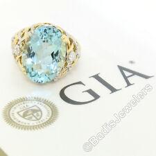 14k Gold & Platinum 19.49ctw Large GIA Aquamarine & Diamond Basket Weave Ring