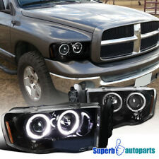 02-05 Dodge Ram 1500 2500 3500 Shiny Black Projector Headlight Halo LED DRL Pair
