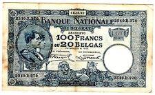Belgique Belgium Billet 100 Francs  = 20 BELGAS  16/10/ 1930 P102 ROI  BON ETAT