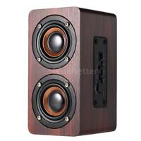Wood Grain BT 4.2 Stereo Dual Loud Speaker Super Bass Subwoofer Handsfree O0V4