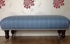 A Quality Long Footstool In Laura Ashley Elmore Dark Seaspray Fabric