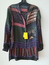 Etro Striped Button-Front Tunic Blouse, Purple/Red Orig:$975 Size 48IT/12-14US
