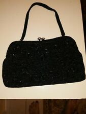 New listing Vintage Made In Japan Black Beaded Clutch Purse With Swirl/Flower Design + Strap