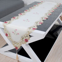 White Embroidered Lace Table Runner Mats Doilies Wedding Party Dining Room Decor