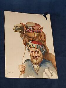 RARE! 1950's Original Watercolor Persian Painting Signed