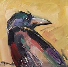 JOSE TRUJILLO Oil Painting BIRD PAINTING PORTRAIT RAVEN CROW REALISM SIGNED ART