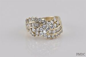 Ross Simons Gold Sterling Silver Cubic Zirconia Wavy Cluster Band Ring 925 Sz: 9