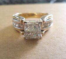 VINTAGE 14k YELLOW & WHITE GOLD DIAMOND ENGAGEMENT RING 1.20CT  SIZE 7