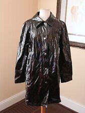 Michael Kors Black Shiny PVC Raincoat Rain Jacket Size M Snap Button
