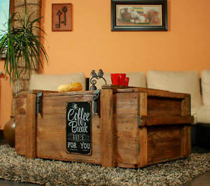 Kaffeetisch Holztruhe Holzkiste shabby chic Tisch Truhe Kiste Coffe Break
