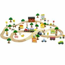 boppi Large Wooden Train Set - 80 Piece With Play Accessories by Bopster