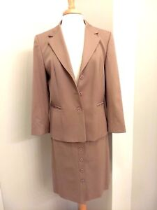 Talbots 2 Piece Wool Skirt Suit Jacket Womens Sz 12 Stretch Taupe Career Lined