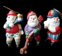 Lot  3 Vintage Ceramic Sports Santa Christmas Ornaments Figurine Baseball Tennis