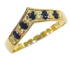 BESTJEWELLERY 10KT YELLOW GOLD ROUND NATURAL SAPPHIRE RING SIZE 7   R1186