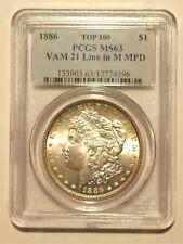 (35) 1886 Morgan Silver Dollar, VAM-21, Top 100, PCGS MS-63