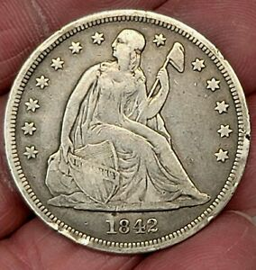 1842 Seated Liberty $1 Dollar 90% Very Rare!!