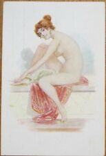 Risque 1915 Postcard: Topless/Nude Woman on Marble Bench, Artist-Signed