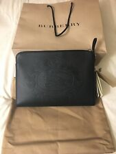 Burberry Men's Embossed Crest Black Calfskin Leather Document And iPad Case