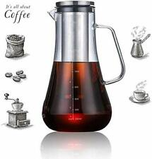 Cold Brew Iced Coffee Maker Glass Carafe with Tea Infuser Airtight Lid 1.2L