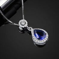 White gold finish blue sapphire and created diamond pearcut necklace gift boxed