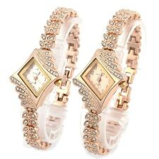 New Fashion Women Crystal Quartz Rhombus Bracelet Bangle Wrist Watch Elegant