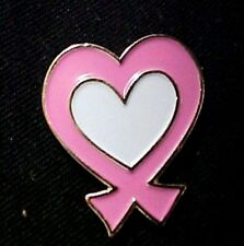 Cancer Awareness White Center Tac New Pink Ribbon Fancy Heart Lapel Pin Breast