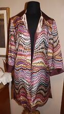Reversible Long SILK blazer Jacket Rose Champagne & Multi colored   M