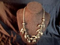 "VINTAGE ETRUSCAN REVIVAL STYLE 21"" PEWTER CHARM BEAD NECKLACE"
