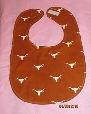 NCAA TEXAS LONGHORNS BABY BIB LINED HOOK AND LOOP CLOSURE NEW HANDMADE