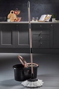 Tower Classico Spin Mop & Bucket rose gold black