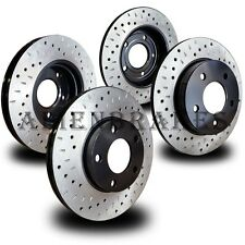 FOR044S Mustang GT 4.6L V8 05-2010 Brake Rotors Cross Drill & Dimple Slots