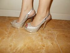 Womens Silver Guess Platform Open Toe High Heel Shoes size 9