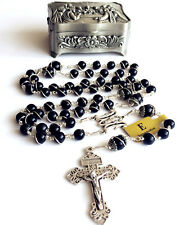 Silver Black Obsidian BEADS MENS WOMENS ROSARY CROSS Catholic NECKLACE Gift Box