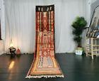 Boujad Moroccan Handmade Vintage Runner 2'5x10'7 Abstract Red Berber Wool Rug
