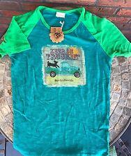 """Keep On Trucking Enjoy The Ride"" Sz 12 T-Shirt Blue Green All Cotton Girls Top"