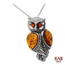 COGNAC BALTIC AMBER PENDANT-OWL STERLING SILVER 925. KAB-281