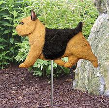 Norwich Terrier Outdoor Garden Dog Sign Hand Painted Figure Black & Tan