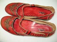 "SPRING STEP ""Juniper"" Red Mary Jane Tooled Floral Comfort Shoes Womens 10 EU 42"