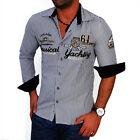 Zahida Hommes Chemise à manches longues pour Polo Club rayé M L XL XXL NEUF