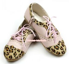 Light Pink Leopard Lace Up Round Toe Classic Oxfords Shoes Girl Party AB-A196