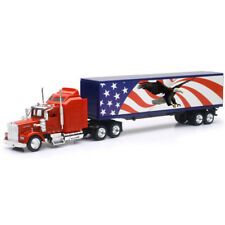 New Ray 1/43 Kenworth W900 with Patriotic Eagle Design Truck Trailer Red 15333
