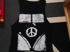 DEBARDEUR TEE SHIRT PEACE AND LOVE NOIR NEUF XL PAIX BABA COOL