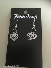 Small Patterened Heart Shaped Dangle/Drop Earrings. Silvertone