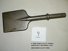 "5"" WIDE STEEL CHISEL W/1"" HEX SHANK FOR DEMOLITION HAMMER"