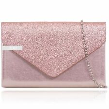Stylish Pink Glitter Sparkle Wedding Ladies Party Evening Clutch Hand Bag