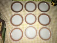 "9 VTG PYREX Corning TABLEWARE 7"" SALAD DESSERT PLATES MILK GLASS BURGUNDY BAND"