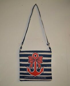 Southern Couture Messenger Bag Blue and White with Red Anchor Design