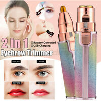 2 in 1 Electric Face Eyebrow Hair Remover Painless Facial Trimmer Razor