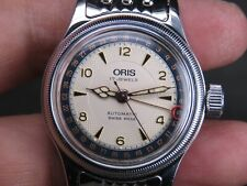 VINTAGE ORIS 574 17 JEWELS SKELETON BACK SS SWISS MADE DATE AUTOMATIC MENS WATCH