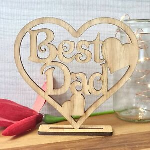 Happy Fathers Day Gift Best Dad Daddy Wooden Heart Plaque Freestanding Oak Love